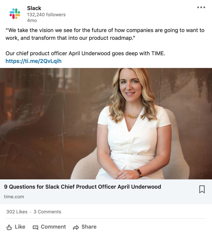 Employee showcase on LinkedIn